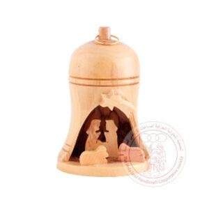 Campana de madera de olivo con Sagrada Familia.