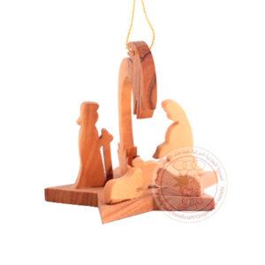 Adorno de madera de olivo con Sagrada Familia.