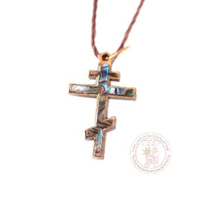 Colgante cruz de madera de olivo (con nácar)